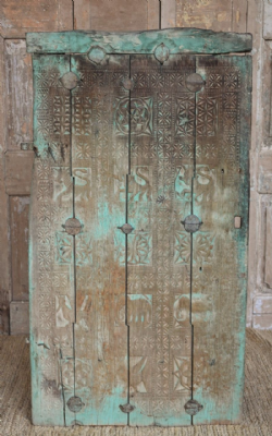 Antique Tribal Door with Animal Carvings, Orissa circa 1880